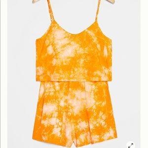 Anthropologie Emira Tie-Dye Romper Orange Medium